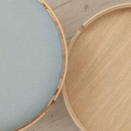 Nordic Function Not just a table eg og grå table with storage and tray in oak and fabric