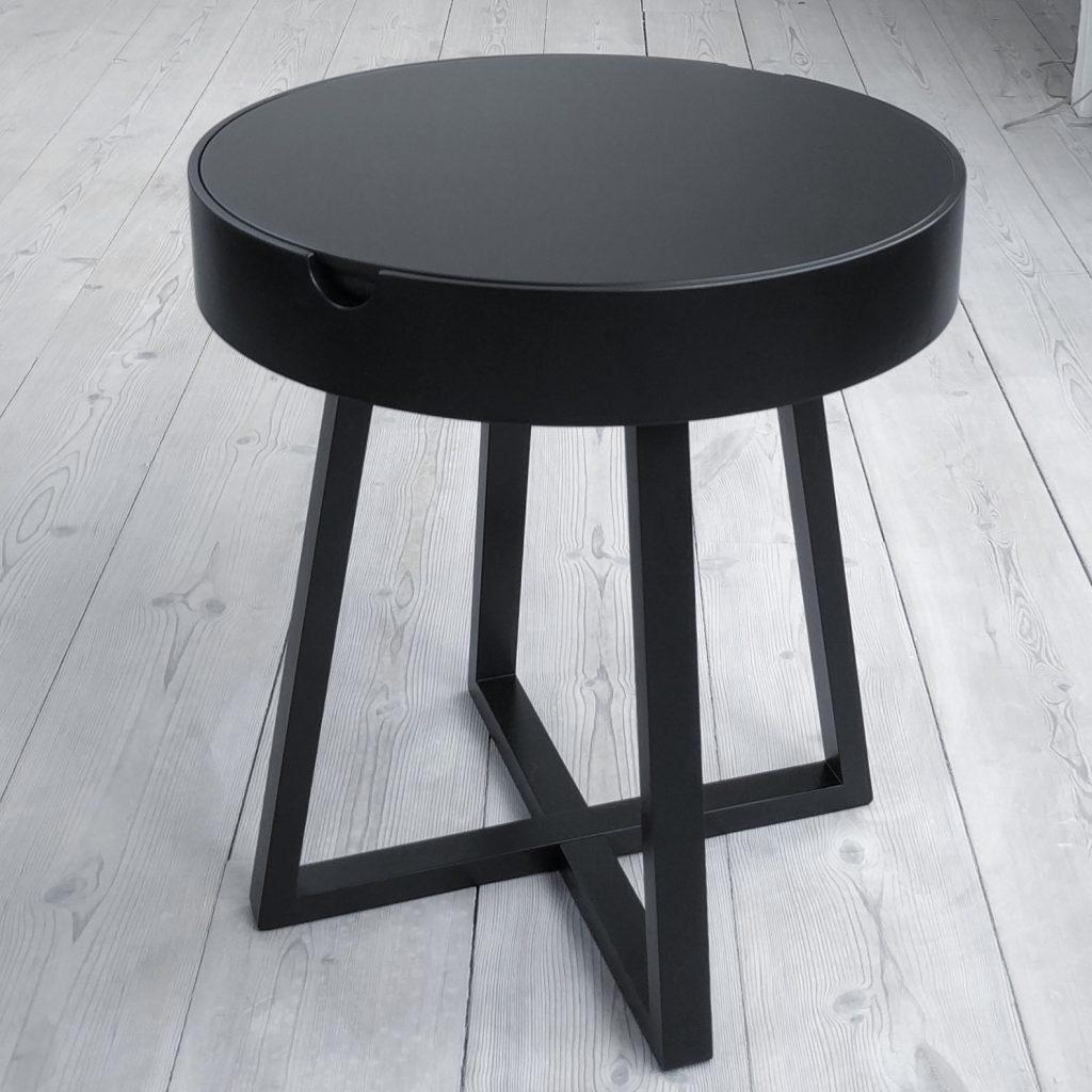 Nordic Function Not just a table sort egetræ bord og taburet i et combined table and stool in black oak Danish design