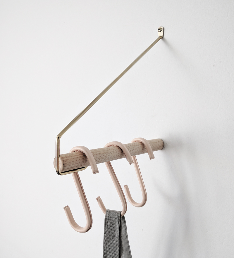 closthed rack leather hooks hall entre nordic function