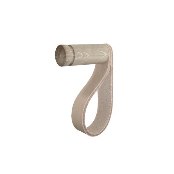 Nordic Function More hook knage i eg og naturlæder med plads til bøjle hook in wood and leather with room for a hanger