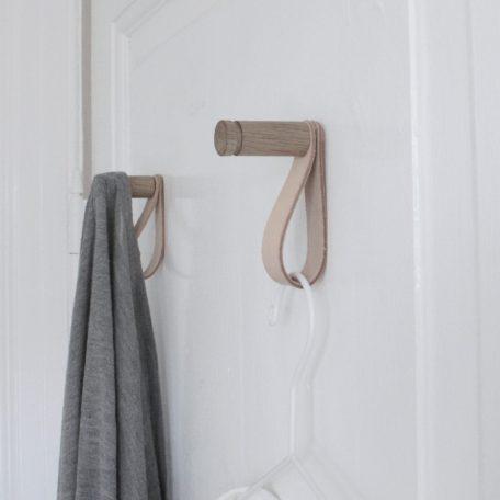 Træknage, knage med læderstrop, entre, soveværelse, badeværelse opbevaring