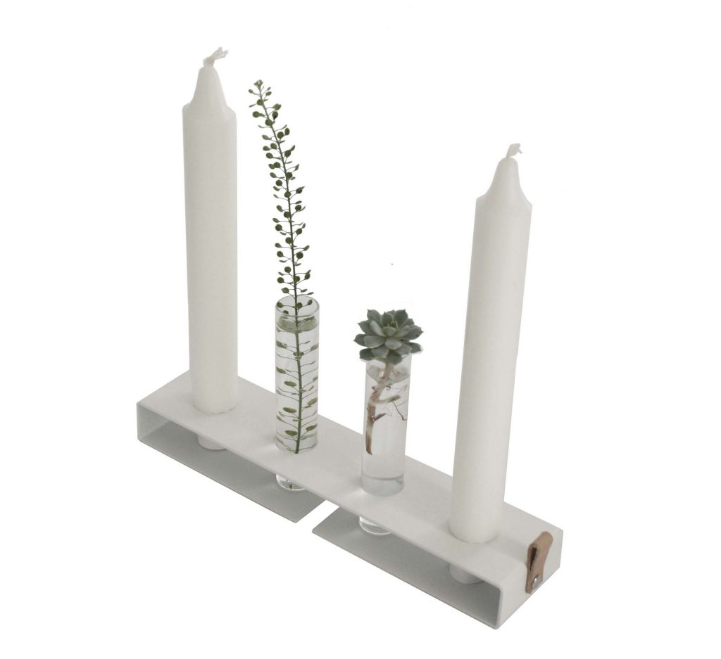 Nordic Function vase and candlestick for small flowers and candles in Scandinavian design white metal